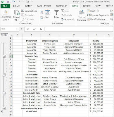 Outline (Group) Data in Excel