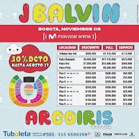 VALORES Concierto de JBALVIN en Bogotá 2019