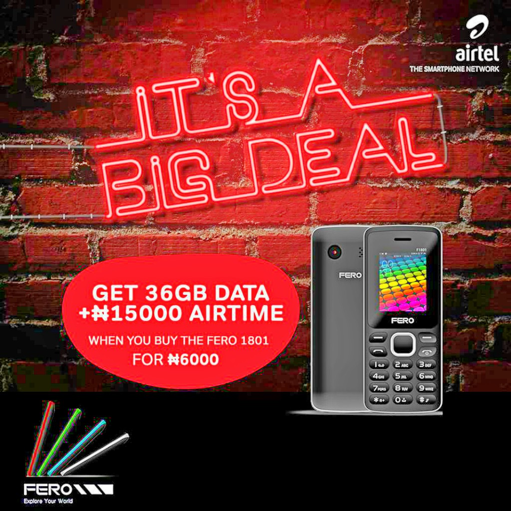 Get Free 36GB Data + N15,000 Airtime From Airtel, When You Buy Fero