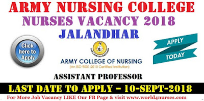 Nurses Vacancy in Army Nursing College Jalandhar