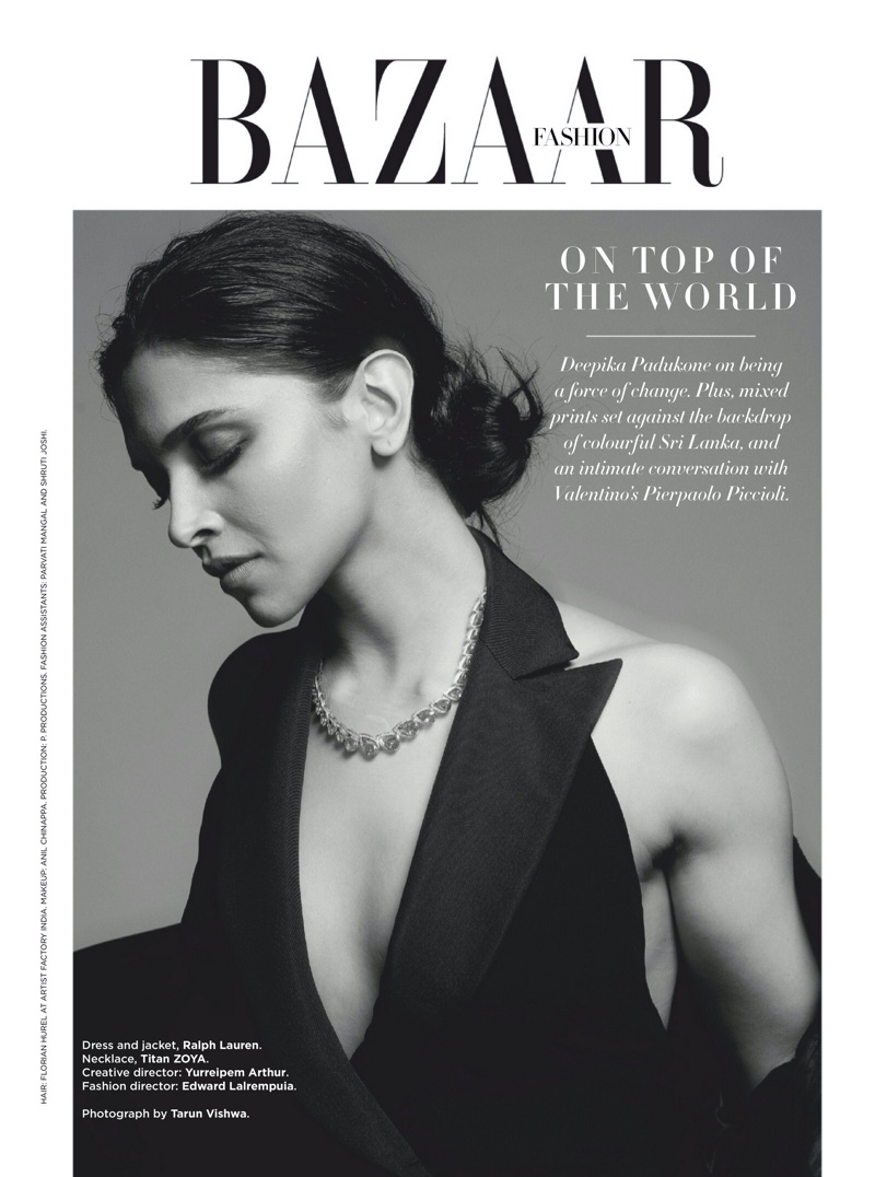 Actress Deepika Padukone poses in Ralph Lauren dress and jacket with Titan Zoya necklace