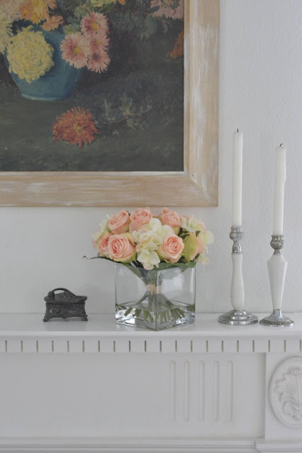Nearly Natural, Faux Flowers, Peach Roses,