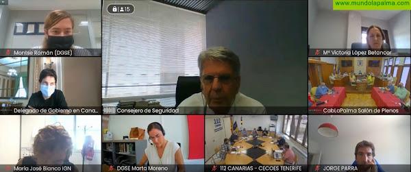 El Comité Director del PEVOLCA examina los planes de evacuación que preparan Cabildo y ayuntamientos de La Palma