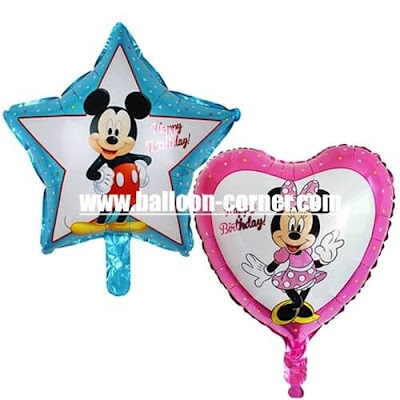 Balon Foil Happy Birthday Bintang Mickey Mouse & Foil Happy Birthday Hati Minnie