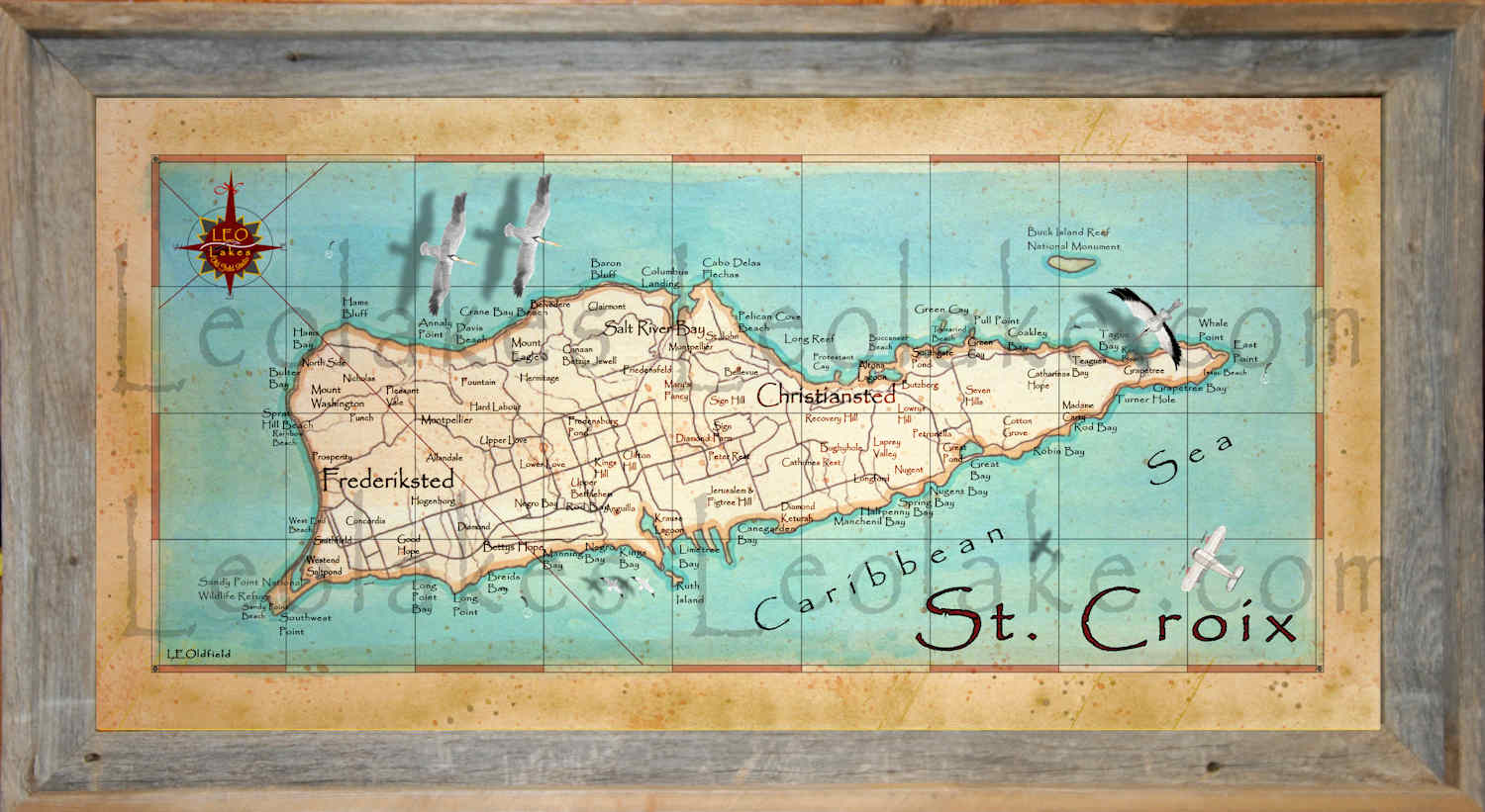 Old field Studio Vintage Style Map of St Croix