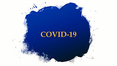 A imagem na cor azul na forma de vírus está escrito: covid-19 ou coronavírus.