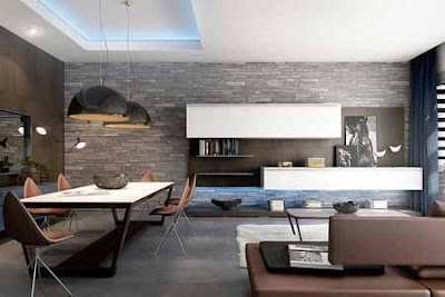 Modern Living Room Design with Decorative Natural Stone Walls