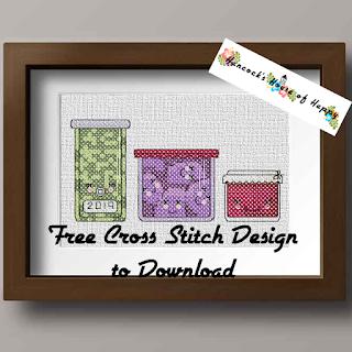 cute kawaii mason jar cross stitch design free to download