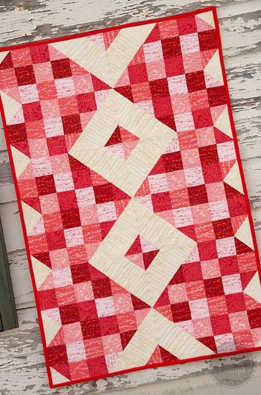 Shades of Love Table Runner Free Tutorial designed by During Quiet Time for Art Gallery Fabrics