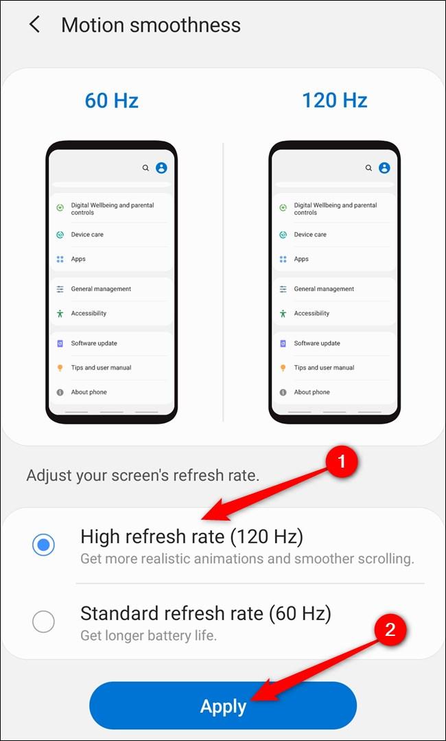 """Samsung Galaxy S20 حدد خيار """"معدل التحديث العالي (120 هرتز)"""" ثم انقر فوق الزر """"تطبيق""""."""