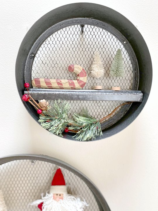 DIY Fixer Upper Round Wall Shelves Decorated for Christmas