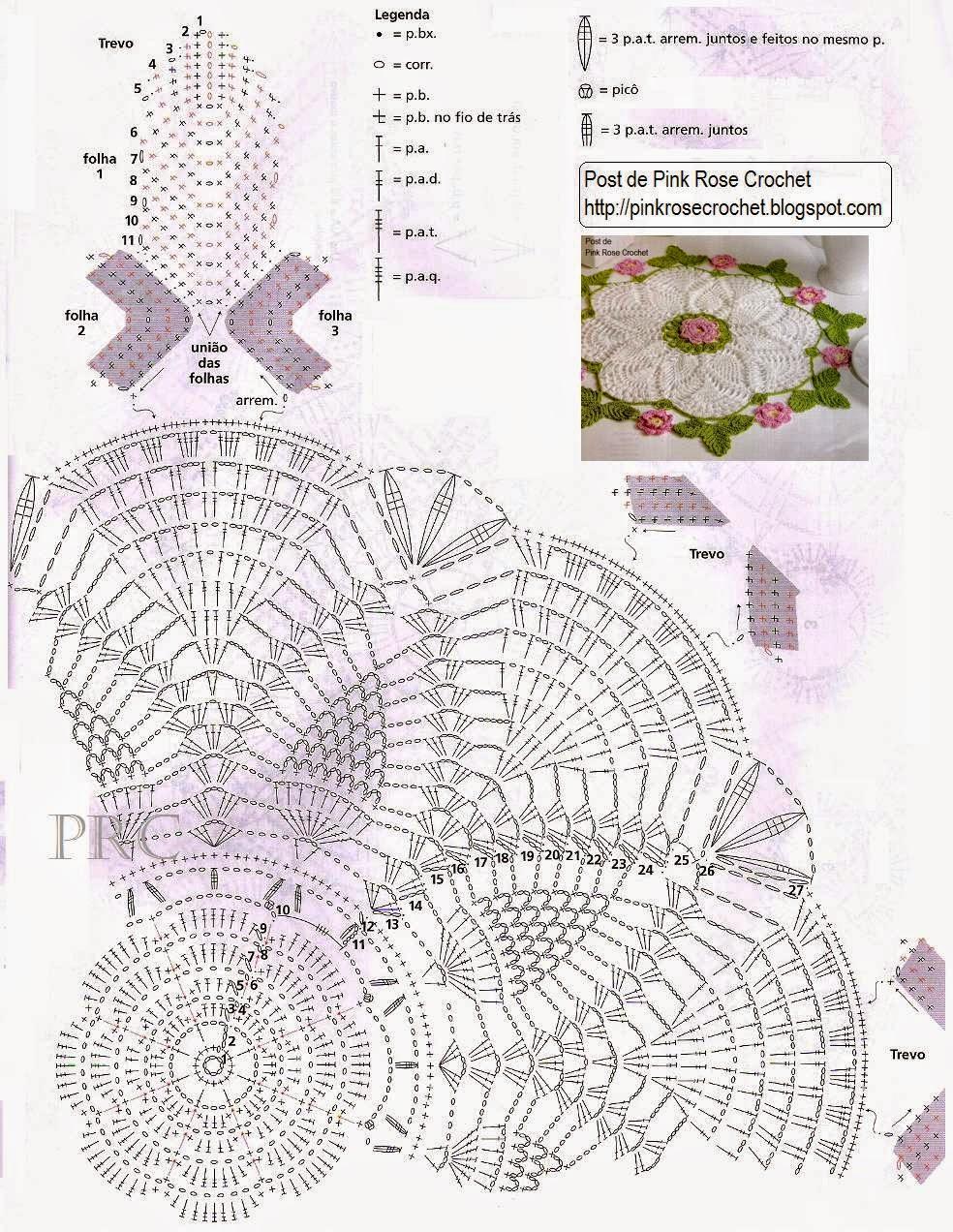 Bella carpeta blanca con centro y bordes de flores y hojas | Crochet ...