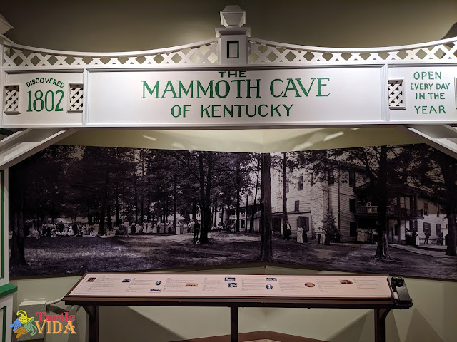 Discovered 1802 | The Mammoth Cave of Kentucky | Open Every Day In The Year | image of one of the displays inside the visitor's center at Mammoth National Park