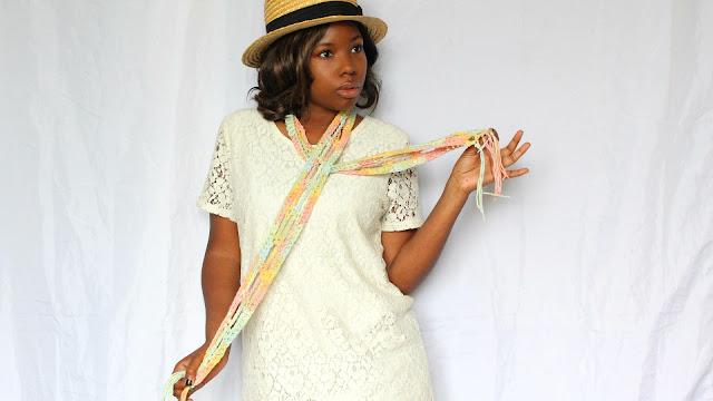 DIY // Spring Skinny Fringe Crochet Scarf // Free Crochet Pattern!