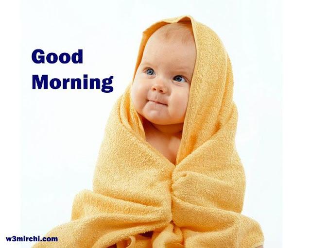 cute baby saying good morning