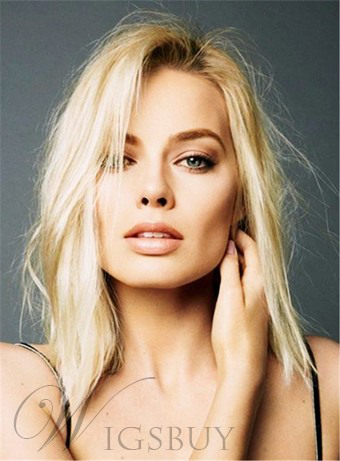 Margot Robbie Bob Hairstyle Mid-Length Straight Synthetic Hair Lace Front Wigs