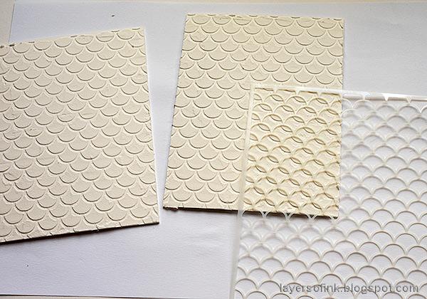Layers of ink - Textured Vintage Notebook Tutorial by Anna-Karin Evaldsson. Apply texture paste through stencil.