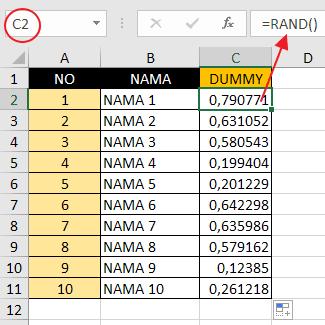 Rumus RAND Excel Untuk Mengacak Urutan Angka