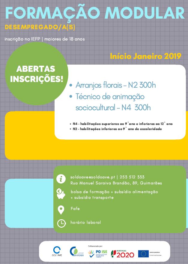 Formação financiada em Guimarães e Fafe (2018 / 2019)