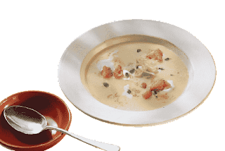Veloute potato soup with herb croutons