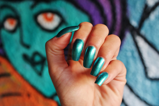 teal metallic nails