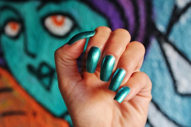 teal metallic nails