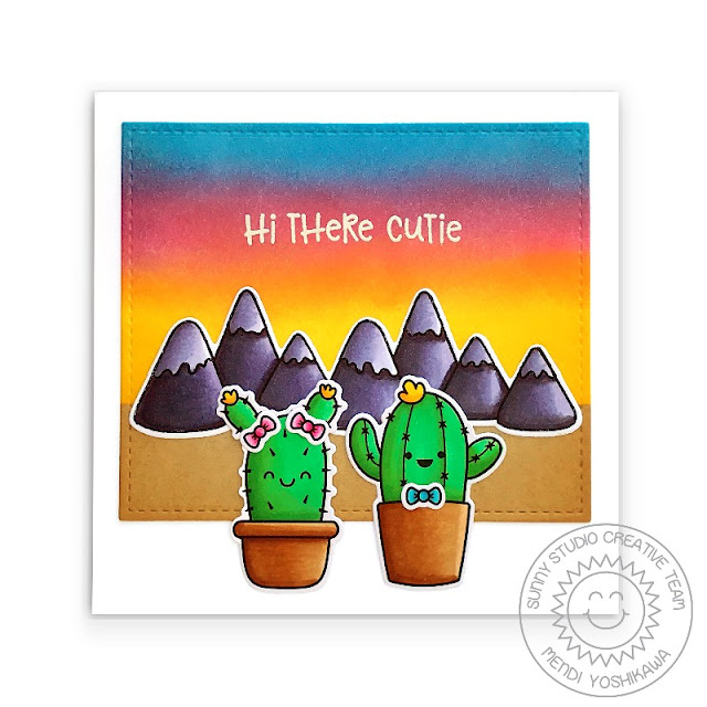 """Sunny Studio: """"Hi There Cutie"""" Girl & Boy Catcus at Sunset Polaroid Style Card (using Looking Sharp, Alpaca Holiday, Coastal Cuties Stamps & Stitched Rectangle Dies)"""
