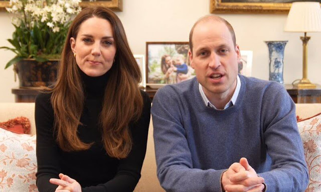 Kate Middleton, Duchess of Cambridge wore a black turtleneck and gold hoop earrings. Time to Change campaign with mental health