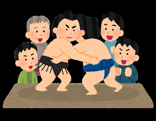 相撲を観戦する人たちのイラスト(男性)