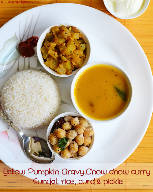 pumpkin gravy, chow chow curry, channa sundal
