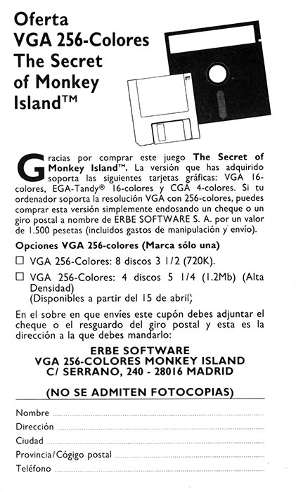 The Secret of Monkey Island Publicidad