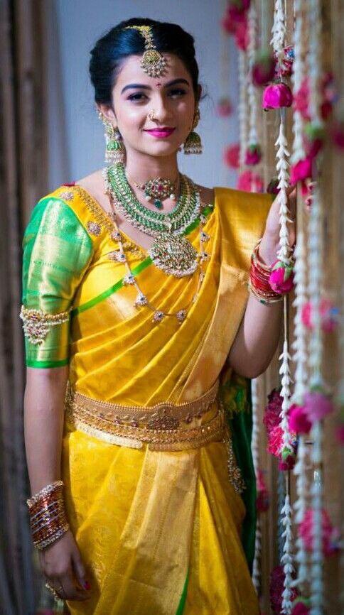 Bride in Heavy Green Kundan Set