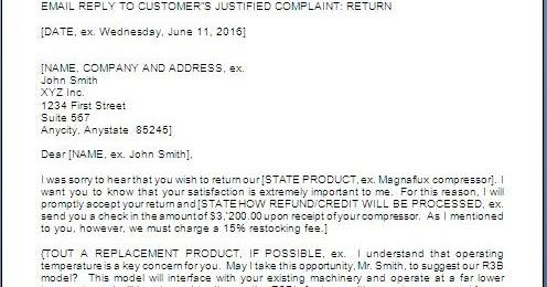 Client Complaint Response Letter Sample
