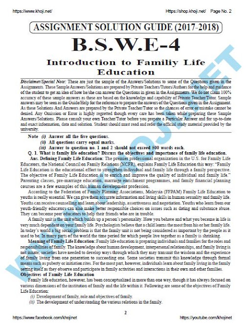 BSWE-004 Introduction to Family Life Education Solved Assignment 2018