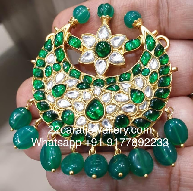 Green Kundan Pendants in 925 Silver