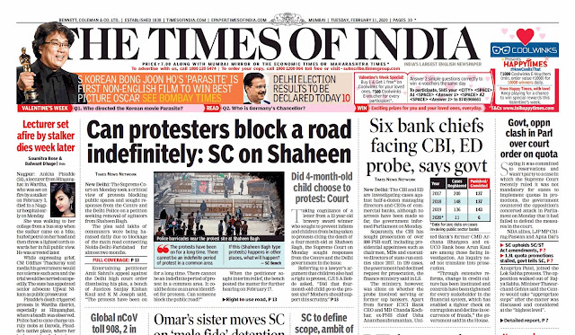 Times Of India Epaper 11th February 2020