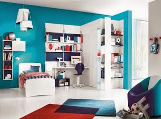 dormitorio infantil rojo azul