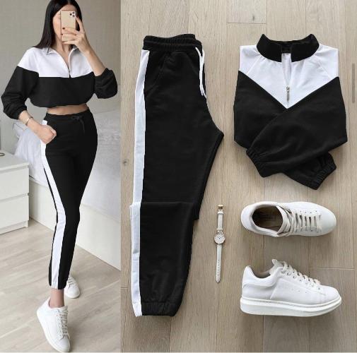 Trening dama lung negru cu alb cu fashion la moda