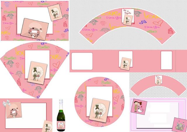 Lindo Mini Kit de Novios en Caricatura en Fondo Rosado para Imprimir Gratis.