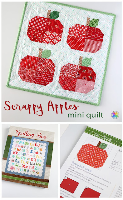 Scrappy Apples mini quilt by Andy of A Bright Corner block found in Spelling Bee book from Lori Holt