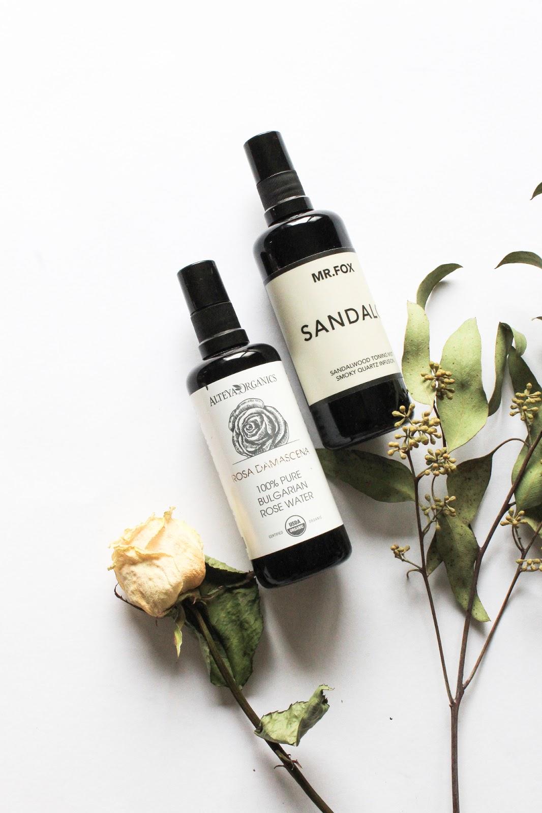 Alteya Organics Pure Bulgarian Rose Water and LILFOX Mr. Fox Sandalo Sandalwood Toning Mist