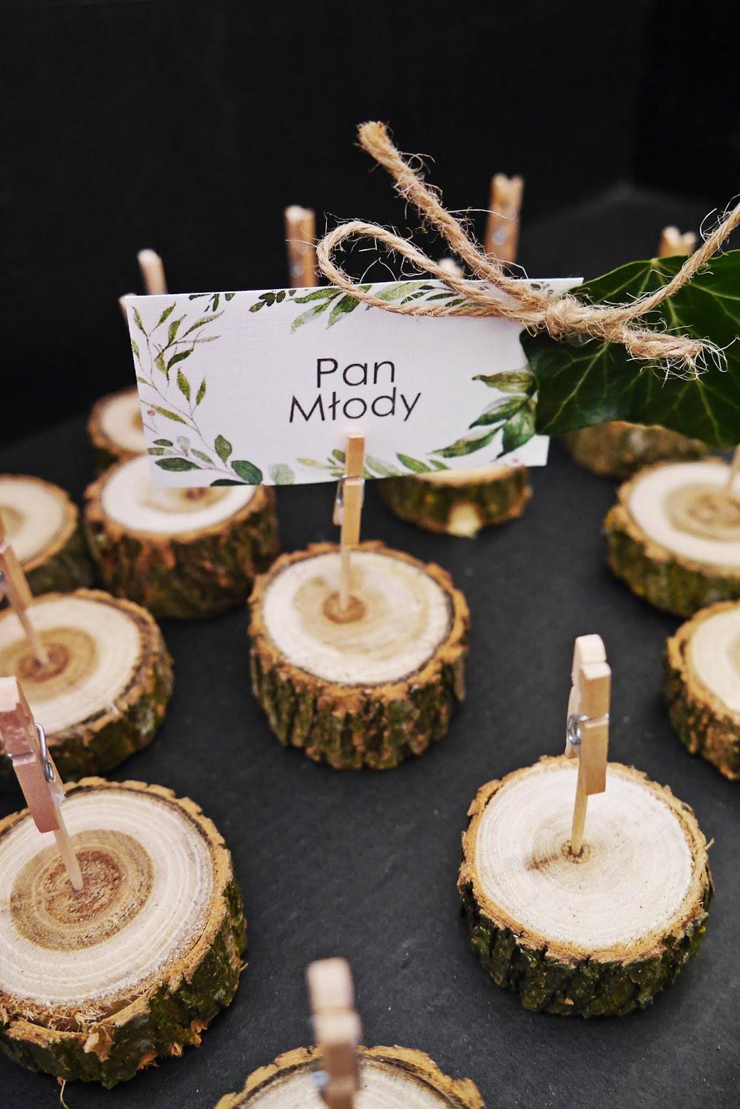 winietki męskie na pniu plastrze drewna diy karyn blog modowy ślubny blogerka modowa