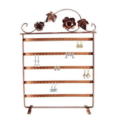 Metal Wire Earring Display Stand with Floral Design from Nile Corp