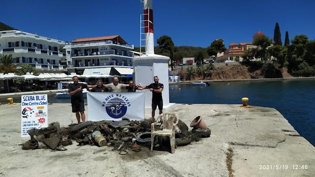 """We Dive We clean"": 200 κιλά απορρίμματα ανέσυραν από το λιμάνι της Επιδαύρου"
