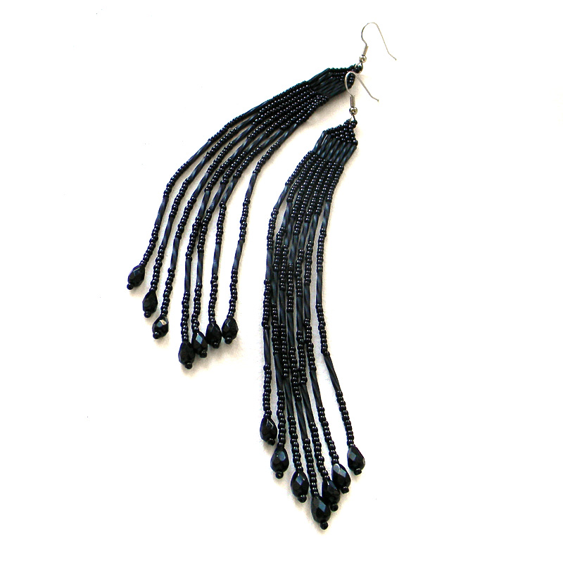 Extra long black earrings, black dangle earrings, black beaded earrings, seed bead jewelry
