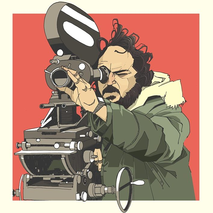 Drawing Stanley Kubrick with camera