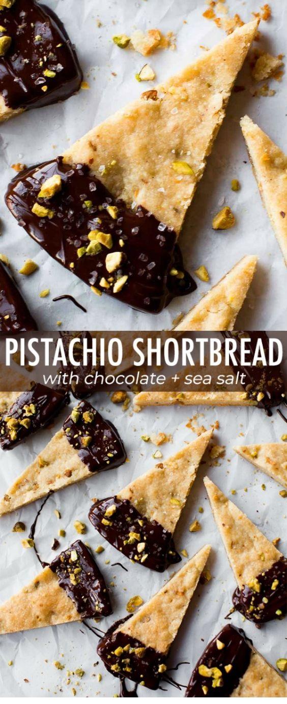 Salted Chocolate Pistachio Shortbread