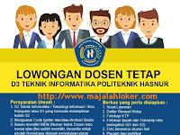 Lowongan Dosen Tetap D3 Teknik Informatika Politeknik Hasnur Banjarmasin 2017