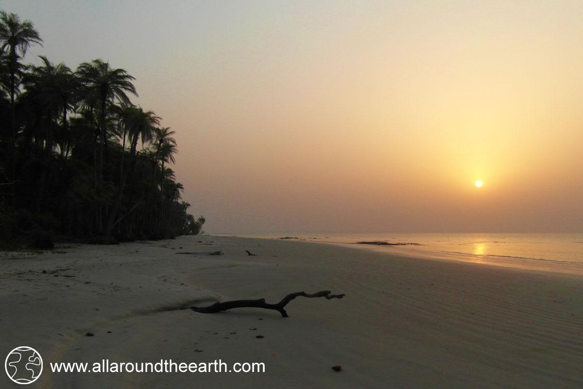 Sunset on the beach of Bubaque Island, Bijagos Archipelago, Guinea Bissau, West Africa