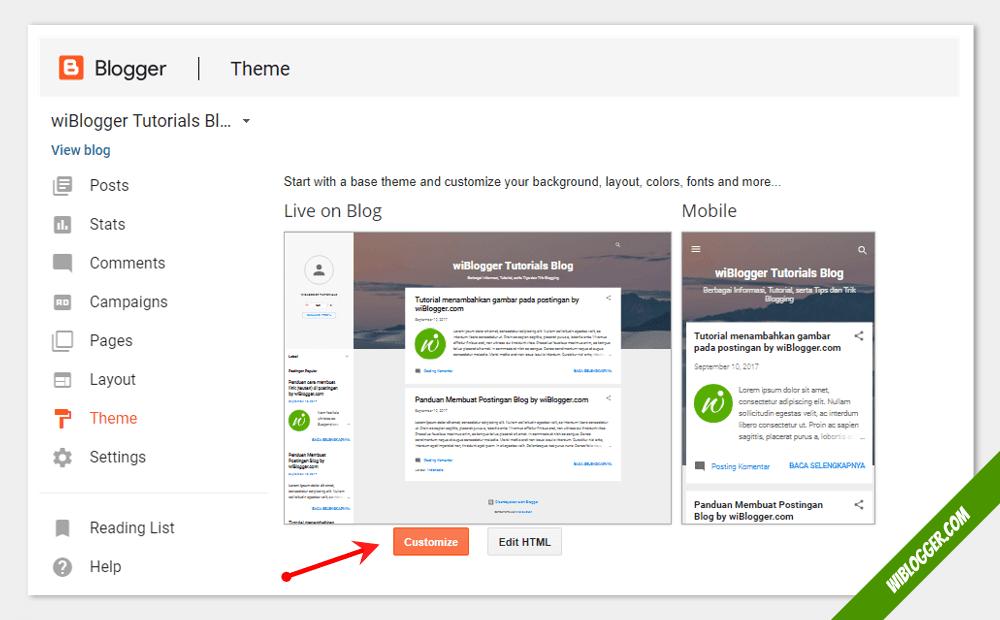 fitur customize blogger